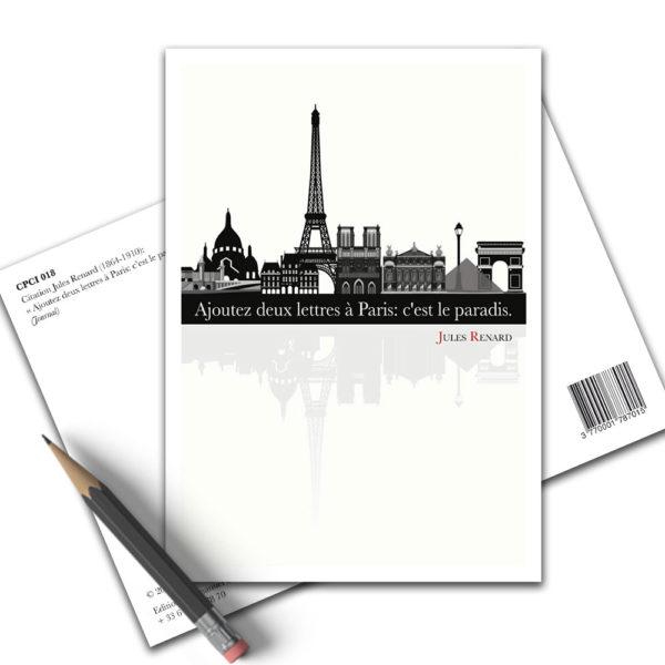 Carte Postale Citation - Jules Renard Paris CPCI 018