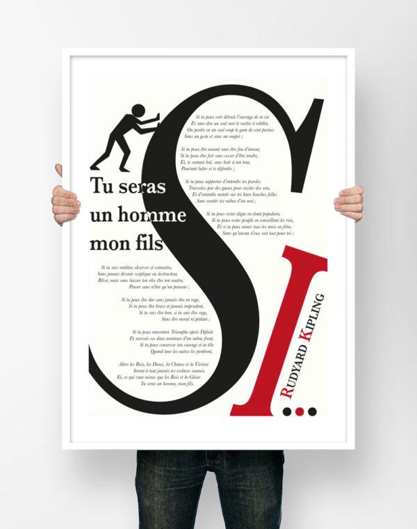 Affiche Poésie Poster Littéraire - Rudyard Kipling Si Tu Seras Un Homme Mon Fils Poème