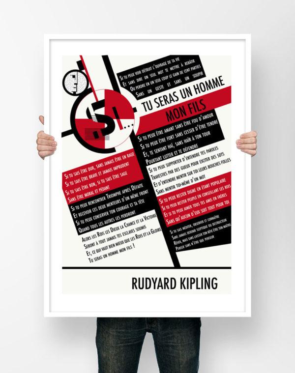 Affiche Poème Poster Littéraire - Rudyard Kipling Si Tu Seras Un Homme Mon Fils Poésie Illustration