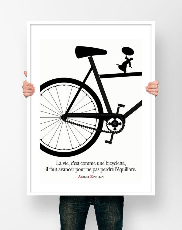 Affiche Citation Poster Littéraire - Albert Einstein la Vie c'est comme une Bicyclette