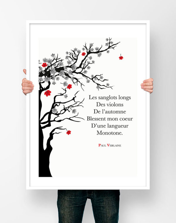 Paul Verlaine Chanson d'automne - Affiche Poster Littéraire