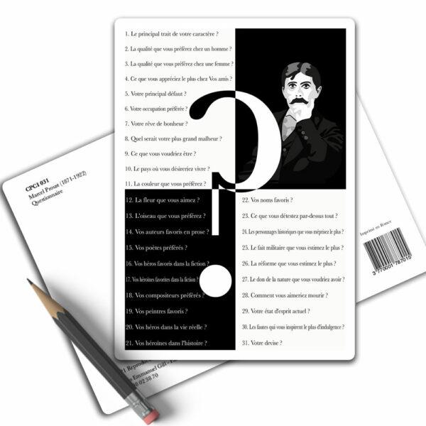 Questionnaire de Proust - Carte Postale Arts-Citations