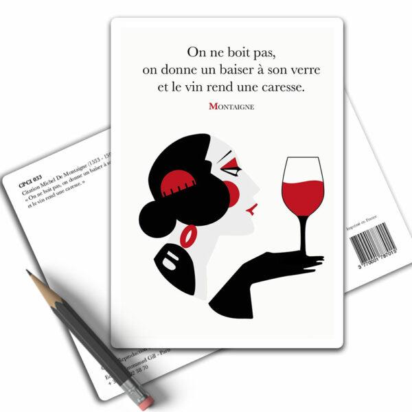Citation Montaigne Le Vin - Carte Postale Arts-Citations