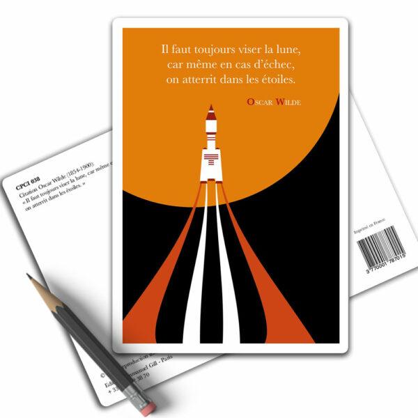 Carte Postale Citation - Oscar Wilde Il faut toujours viser la lune